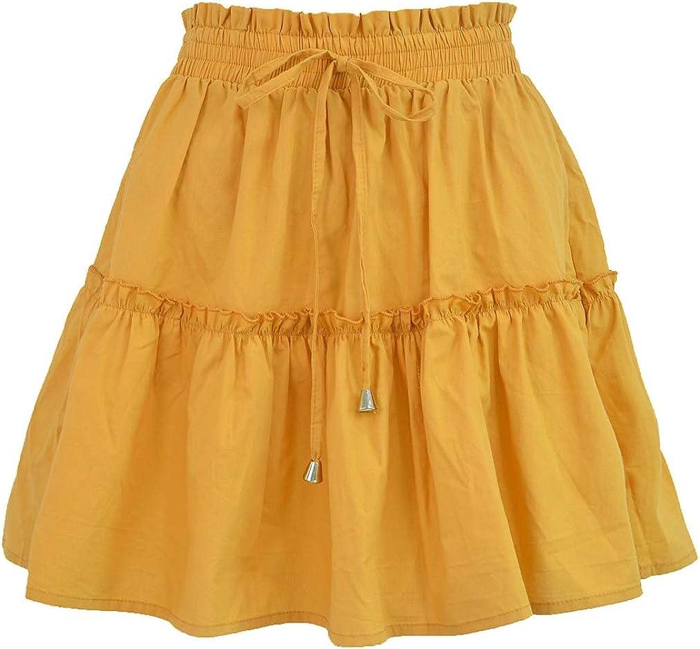 HUPAI Women's Summer Short Dress Half-Length Skirt High Waist Elastic Dress Solid Color Skirt Casual Dress Umbrella Skirt