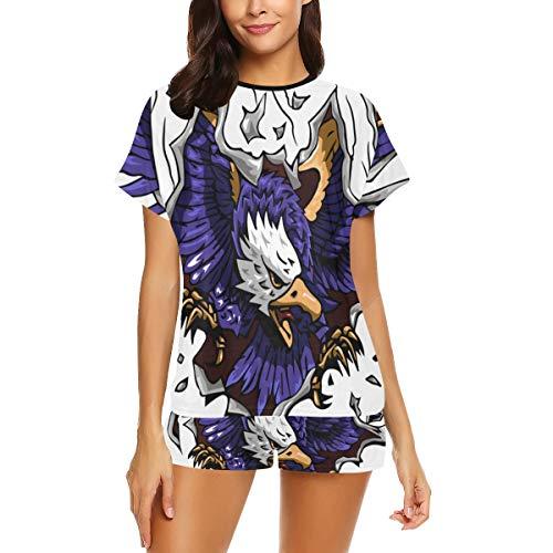 Damen Casual Pyjamas Set, Eagle Clipart Kurzarm Pyjama, Bedruckte Damen Pyjama Set Zweiteilige Pyjamas Kurzarm Shorts Pyjamas Set