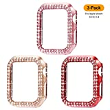 Surace 44mm Case Compatible for Apple Watch Case, Bling Frame Protective Case Compatible for iWatch Series 5 Series 4 (3 Packs, Rose Gold/Pink Gold/Red-44mm