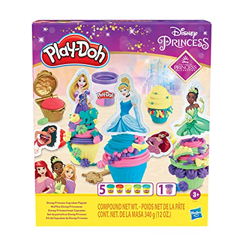 Play-Doh Disney Princess Cupcakes Playset Arts and Crafts Toy for Kids 3 Years and Up with 6 Non-Toxic Cans Including Dual Sparkle