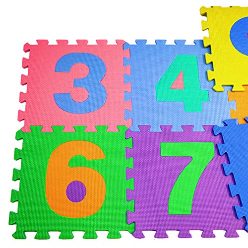 TU TENDENCIA ÚNICA Alfombra Puzzle Infantil para Bebés y Niños de Foam. 9 Piezas con Números 0-9 de Colores Surtidos. Antideslizante
