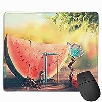 夏 スイカ絵画 マウスパッド 運びやすい オフィス 家 最適 おしゃれ 耐久性 滑り止めゴム底付き 快適操作性 30*25*0.3cm