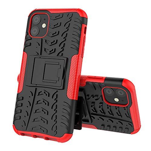 Asdsinfor Funda para iPhone 11 con diseño de neumáticos resistente, resistente, protección extrema, con soporte, absorción de golpes, desmontable, para iPhone 11 (6,1 pulgadas), color negro y rojo