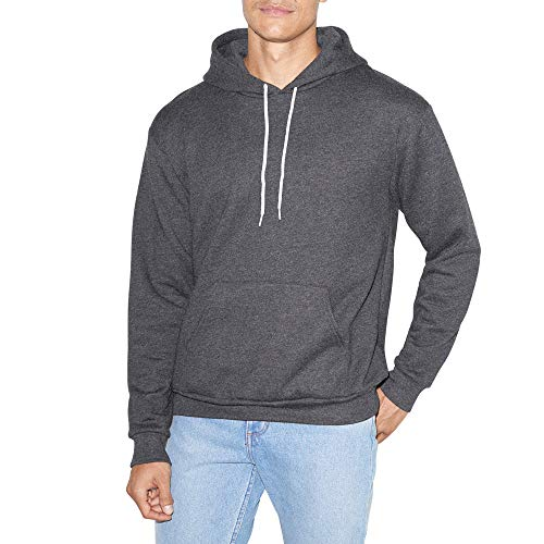 American Apparel Herren Flex Fleece Long Sleeve Pullover Hoodie Kapuzenpulli, dunkelgrau (Dark Heather Grey), Large