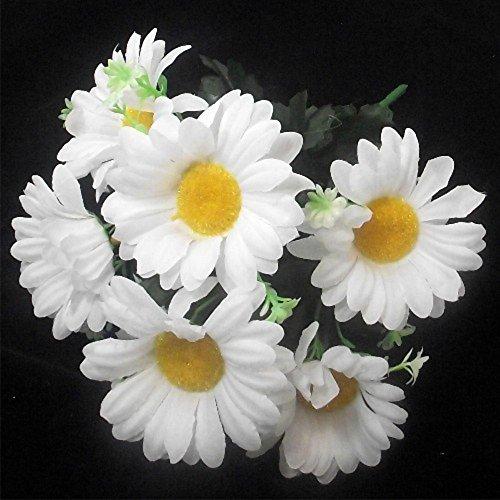 Arbusto de flores artificiales (30 cm de alto, con hojas) de margarita blanca gerbera