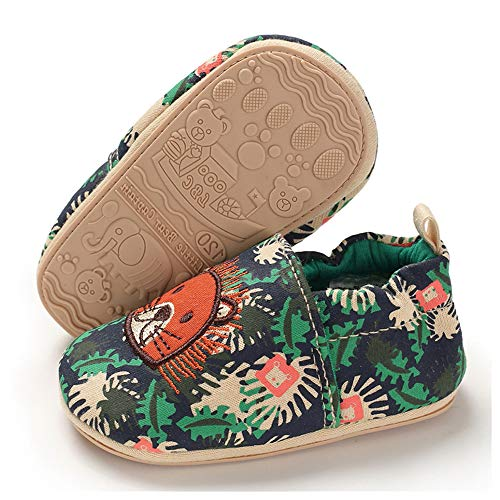 TIMATEGO Toddler Baby Boys Girls Shoes Non Skid Slipper Sneaker Moccasins Infant First Walker House Walking Crib Shoes(6-24 Months) Baby Slipper 9-12 Months Infant, 01 Green Lion