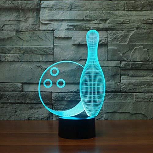 Laofan Bola de Bowling Ilusión 3D Lámpara Led Night Lights USB Touch Remote Atmósfera Lámpara de iluminación Regalo para los niños,Control Remoto
