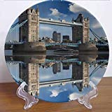 6' London Decor Collection Ceramic Decorative Plate Tower Bridge with City Cruise in a Summer Day Mirroring on Tranquil Thames River Picture Decor Accessory for Fine Dining, Parties, Wedding