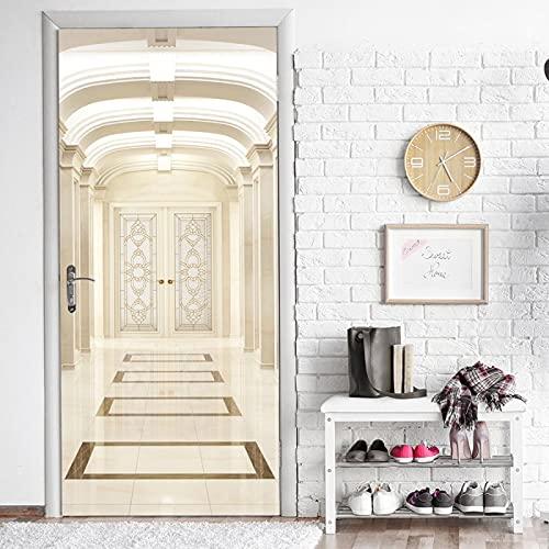 Pegatinas para puerta 3D de construcción retro desmontables de PVC impermeable para el hogar, decoración moderna (77 cm x 200 cm)