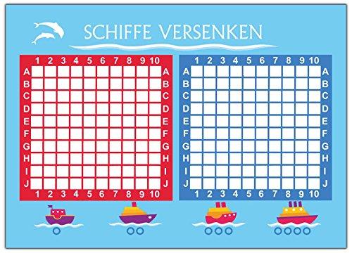 Set 2 Stück= 100 Blatt Schiffe versenken Spiel Block Reisespiel Reise Rätsel für Kinder Mädchen Jungen Erwachsene Kompakt mitbringsel Papier Party Trinkspiel unterwegs original Spieleblock Partyspiel