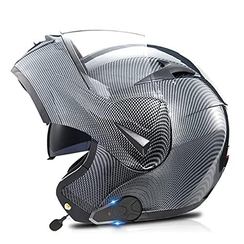 Casco De Moto Modular Con Bluetooth Walkie Talkie,Manos Libres, Sin Ruido, Contestador Automático, Visor Doble,ECE/DOT Homologado Para Adultos Hombres Mujeres J,L