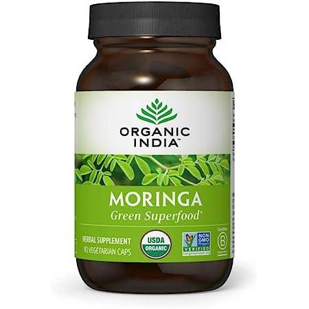 Organic India Moringa Herbal Supplement - Green Superfood, Nutrient Dense, Pure Plant Protein, Vitamin A, E, K, Iron, Calcium, Fiber, Vegan, Gluten-Free, USDA Certified Organic - 90 Capsules