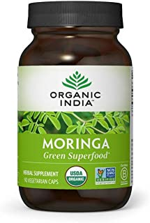 Organic India Moringa Herbal Supplement - Green Superfood, Nutrient Dense, Pure Plant Protein, Vitamin A, E, K, Iron, Calc...