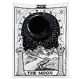 Tapiz de pared con diseño de tarot de Alumuk, tapiz de mandala, toalla de pared medieval, Europa Divination Tapestry The Moon The Star The Sun como manta decorativa (200 x 150 cm)