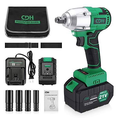 C D H 21V MAX Cordless Impact Wrench with 1/2'Chuck, Max Torque 206 ft-lbs (280N.m), 6.0A Li-ion Battery, 4Pcs Driver Impact Sockets, Fast Charger and Tool Bag