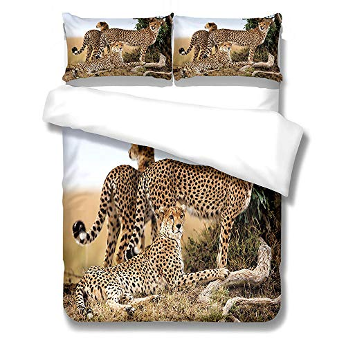 Wbfgg Set Biancheria Letto Leopardo Animale 180X220Cm 3Pz Lenzuola Matrimoniali Completo Set Biancheria per Letto Matrimonio/Singolo Stampa 3D 1Pz Copripiumino + 2Pz Federe