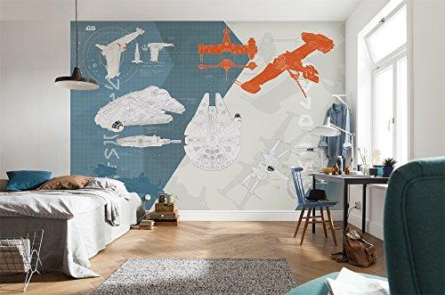 Komar 8-4001 Fototapete aus Papier Star Wars – Technical Plan, Größe 368 x 254 cm (Breite x Höhe), 8 Teile, inklusive Kleister, Made in Germany, Bunt