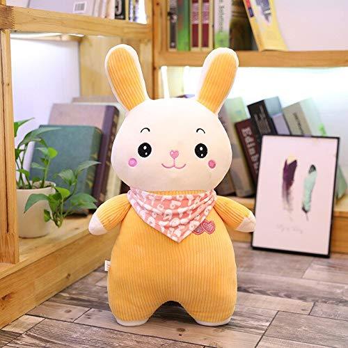 N / A fette Kaninchen mit Schal Puppe Plüsch Spielzeug Cartoon Bild weiches Tier ausgestopft Kawaii Dekor Hochwertiges Kind Kind süßes Geschenk 45cm