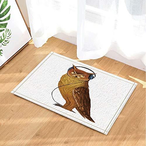 Dierlijke decoratieve uil die aan muziek met hoofdtelefoons luistert Kinderbadkamer tapijt toiletdeur mat woonkamer 40X60CM badkameraccessoires