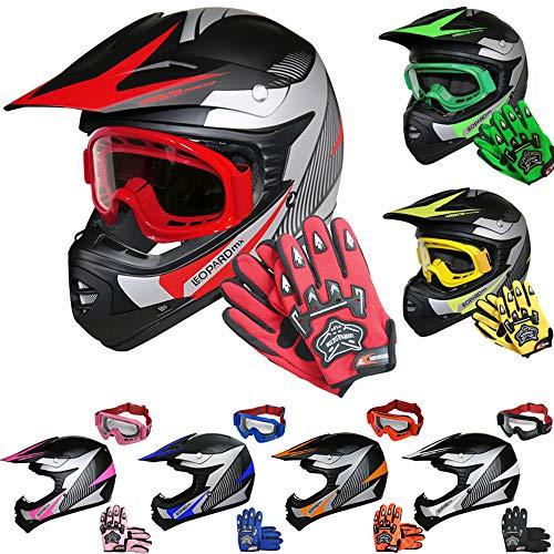 Leopard LEO-X19 Kinder Motocross MX Helm { Motorradhelm + Handschuhe + Brille} Rot XL (55cm) ECE Genehmigt Crosshelm Kinderquad Off Road Enduro Sport