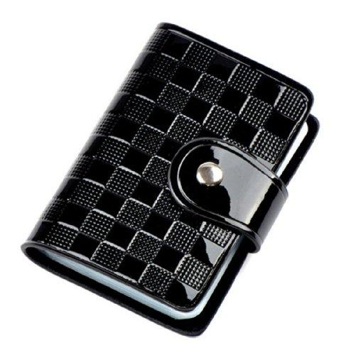 Patent Leather Credit Card Wallet Holder Holds 40 Cards Black