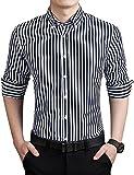ERZTIAY Men's Casual Business Vertical Striped Button Down Long Sleeve Dress Shirts Black