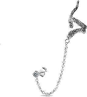 Oorbellen van staal en kristal met Snake Ear Wrap
