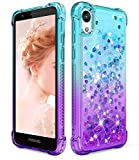 Dzxouui for Moto E6 Case,Motorola E6 Case,Girls Women TPU Protective Clear Cover with Moving Quicksand Glitter Bling Sparkle Cute Phone Cases for Motorola Moto E6(Teal/Purple)