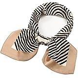 27 inch Silk Feeling Scarf Square Satin Head Scarf Fashion Geometric Neck Scarfs for Women Beige