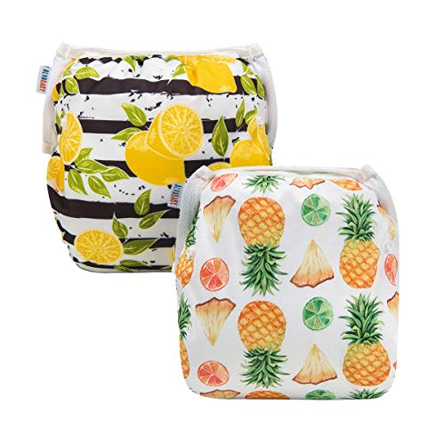 Alva Baby Swim Diapers 2pcs Reuseable Washable & Adjustable for Swimming Lesson & Baby Shower Gifts 0-2 Years (Mellow Yellow) YK46-50