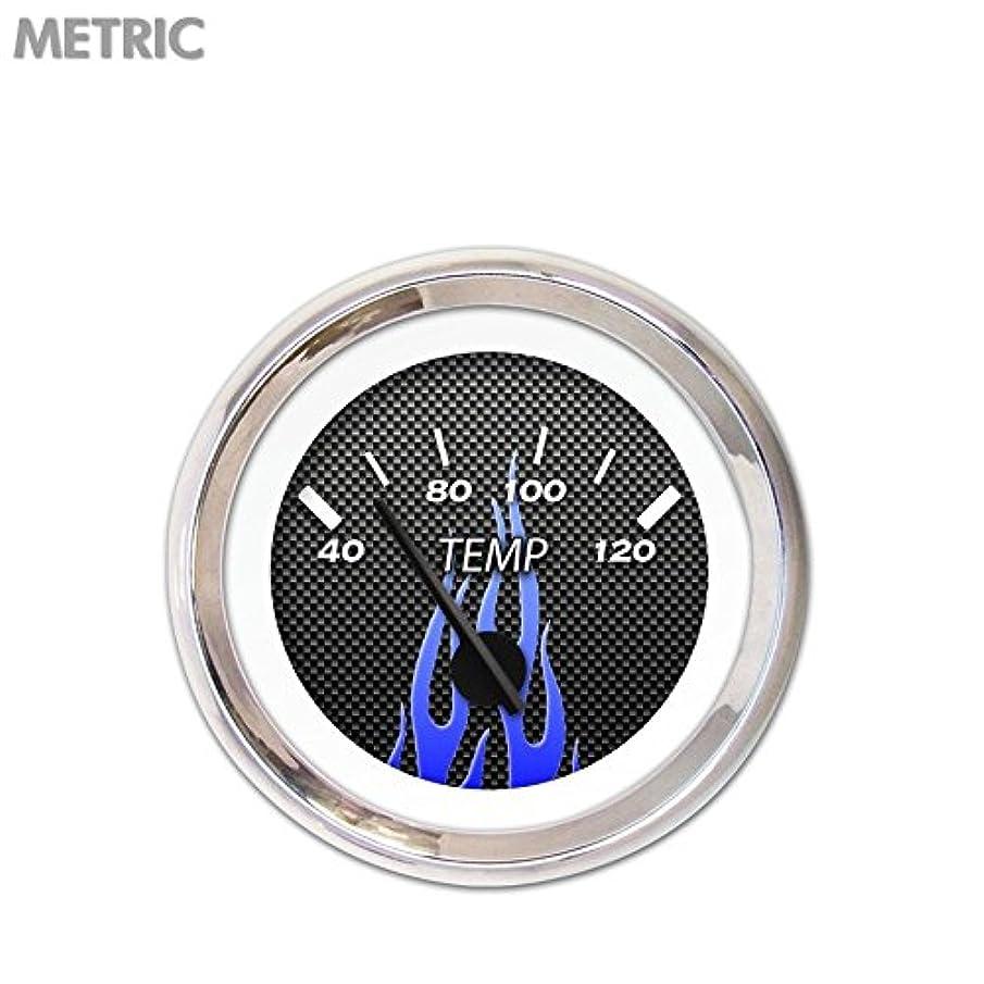 Aurora Instruments 5483 Carbon Fiber Blue Flame Metric Water Temperature Gauge (Black Modern Needles, Chrome Trim Rings, Style Kit Installed)