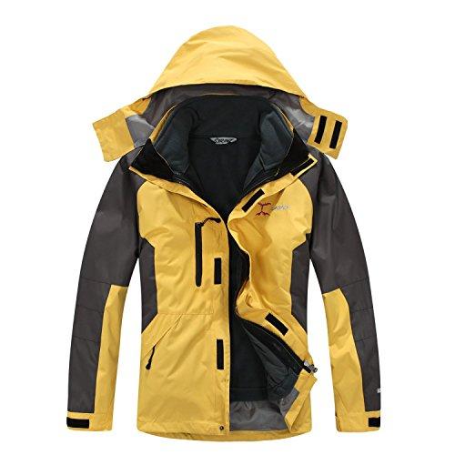 SYRINX Herren 3 in 1 Wasserdicht Atmungsaktiv Outdoor Camping Wandern Sport Jacke Winddicht Kapuze Fleecefutter Mantel (X-Large, Gelb)