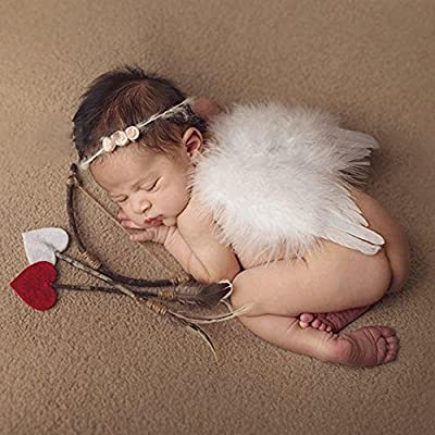 Baby Wings, Newborn Baby Lovely White Feather Angel Wings with Headband Bow Swords Infant Cupid Costume Photo Prop Outfit Easter April Fools Day Gift