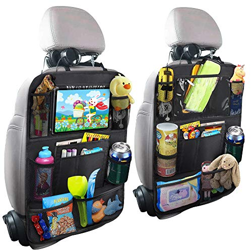 Car Backseat Organizer with Touch Screen Tablet Holder + 9 Storage Pockets Kick Mats Car Seat Back Protectors Great Travel Accessories for Kids and Toddlers(2 Pack)