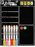 "Magnetic Dry Erase Meal Planner by OacisLife | [2019 New] 16"" by 12"" Reusable Weakly Board, Menu for Kitchen Refrigerator Door with 6 Color Magnetic Markers, 6 Pieces Icons"