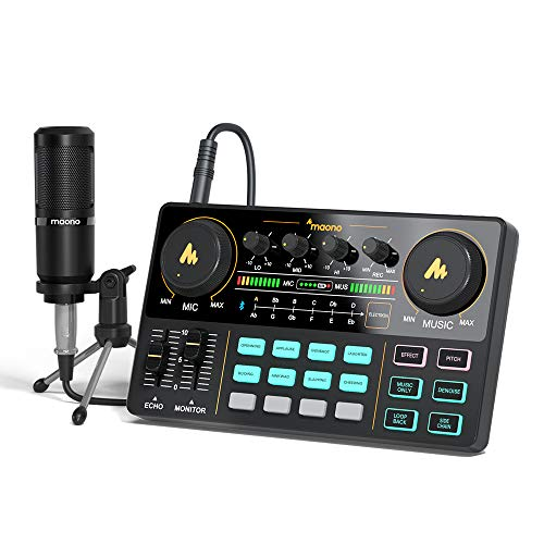 Audio Interface with DJ Mixer and Sound Card, Maonocaster Lite Portable ALL-IN-ONE Podcast Production Studio with 3.5mm Microphone for Guitar, Live Streaming, PC, Recording and Gaming(AU-AM200-S1)