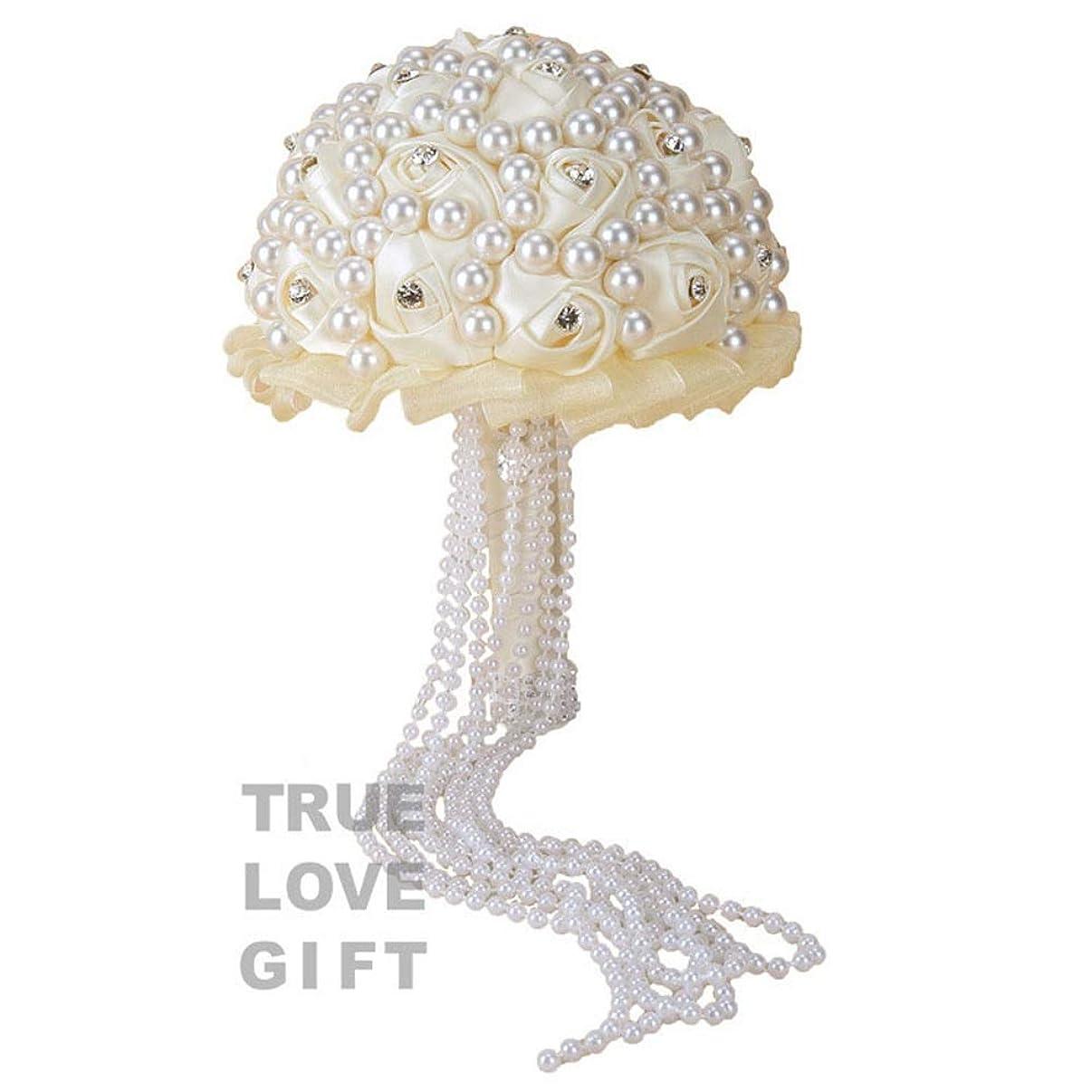 スロットボイコット災難ウェディングブーケ 結婚式、教会、パーティーや家の装飾に最適な結婚式のブーケブーケバラを保持しているロマンチックな花嫁の結婚式 ホームキッチンガーデンパーティーのための花飾り (色 : ベージュ)