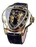 T-WINNER Fashion Mechanical Wrist Watch Triangle Racing Dial, Waterproof Golden Skeleton Dial...