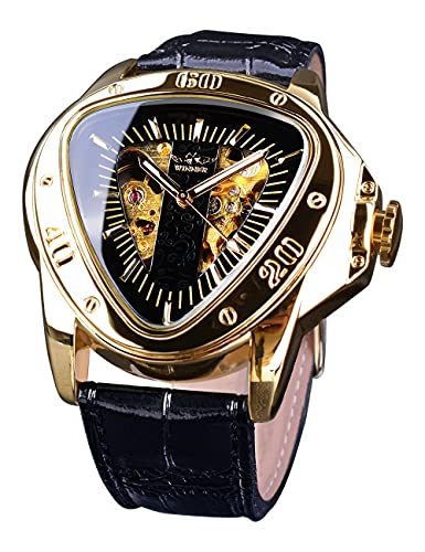 T-WINNER Fashion Mechanical Wrist Watch Triangle Racing Dial, Waterproof Golden Skeleton Dial Automatic Movement Leather Design Mechanical Watch for Men