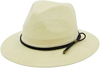 Hats and Caps Cowboy Fedora Hat for Men Summer Casual Trendy Beach Sun Straw Panama Jazz Hat Gangster Cap (Color : Cream, Size : 56-58CM)