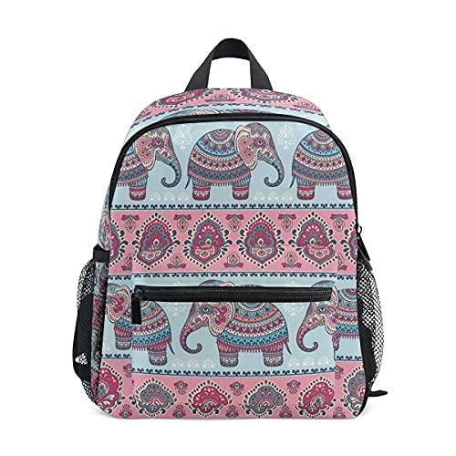 ISAOA - Mochila para niñas y niñas, diseño de elefante, bohemia, color rosa, mochila para guardería, mochila preescolar con correa para el pecho