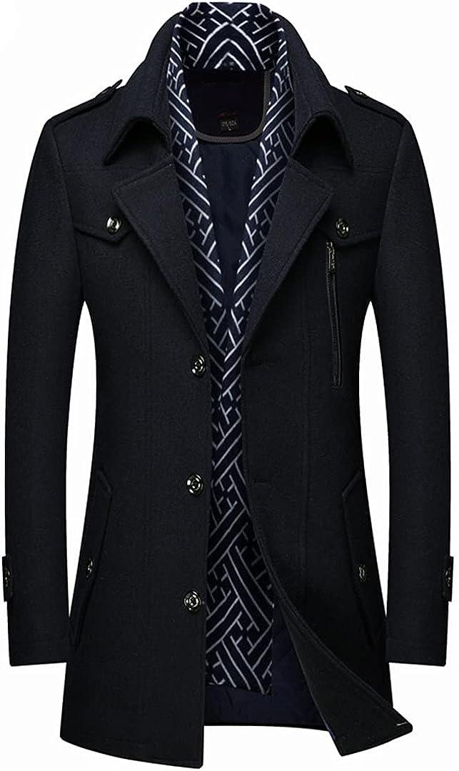 Autumn And Winter Thick Men's Woolen Windbreaker Trench Coat Scarf Collar Mid-Length Woolen Coat Jacket