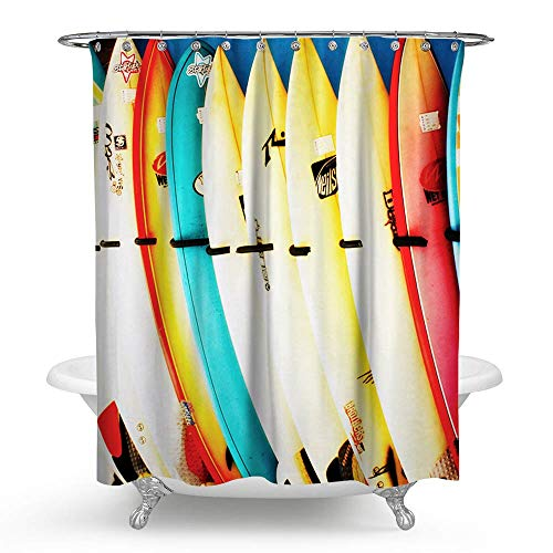 HMWR Summer Shower Curtain Surfing Skateboard Waterproof...