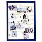 Qualip Cornice portafoto di alta qualità con clip e guinzaglio, blu scuro, giallo neon [Modern Vintage Mix] | Cornice per foto per collage, cartoline o foto Polaroid – ora guarda