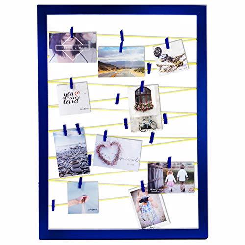 Qualip Premium Bilderrahmen mit Klammern und Leine Dunkelblau Neongelbe Fotoleine [Modern Vintage Mix] | Fotowand für Bilder Collage, Postkarten oder Polaroid Fotos aufhängen - Jetzt ansehen