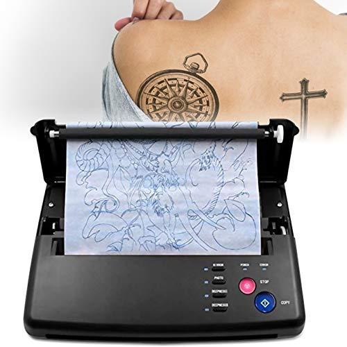 InLoveArts Tattoo Transfer Maschine, Thermo Drucker Printer, Thermodrucker Tattoo Stencil Kopierer Maschine mit 10pcs Thermotransferpapier und 500 digitalen Mustern für DIY Tattoo Supplies