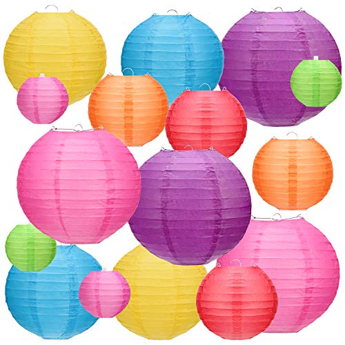 Kohree 16Pcs Colorful Paper Lanterns Decorative(Multi-Color, Size of 4' 6' 8' 10') Chinese Hanging Decorations for Home, Weddings, Birthdays, Parties and Events