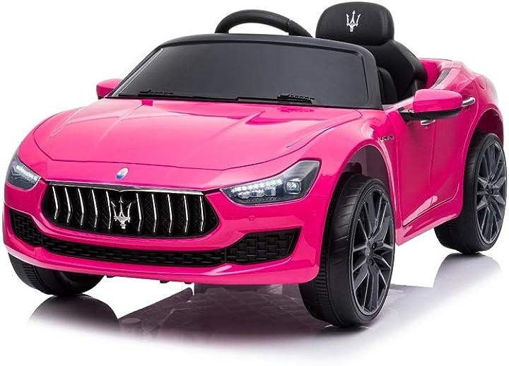 Macchina per bambini maserati ghibli rosa motore 12v fari led funzionanti luci suoni lettore mp3 cavo aux B082WKSL37