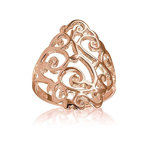Hoops & Loops Rose Gold Flashed Sterling Silver Filigree Celtic Floral Swirl Ring, Size 8