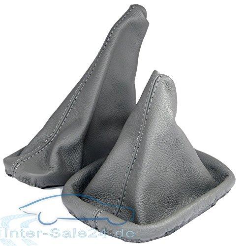 L/&P A0022 Funda saco cuero de 100/% real piel genuina gris con costura gris de palanca de cambios cambio velocidad velocidades marchas saco de conmutaci/ón y freno de mano estacionamiento